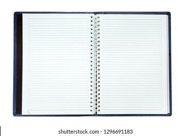 An open spiral notebook with blank pages.