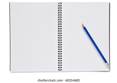 Open Spiral Notebook with Blue Pencil blank paper