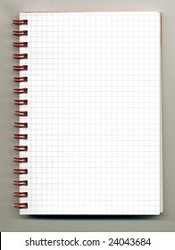 Open spiral notebook on gray background