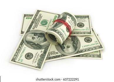 Open stack of US Dollars. 3d illustration