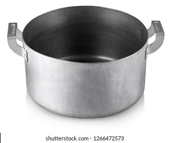 Open stainless steel cooking pot over white background with clipping path