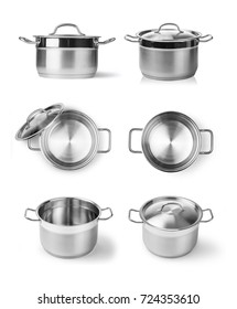 Open stainless steel cooking pot isolated on white