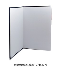 Open standing book on white background