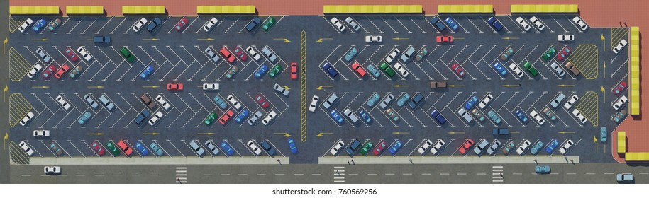 Open street car Parking zone, many cars top view, road markings in the Parking lot. 3D rendering, vehicles Illustration