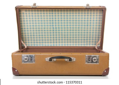 open suitcase isolated on white. close up