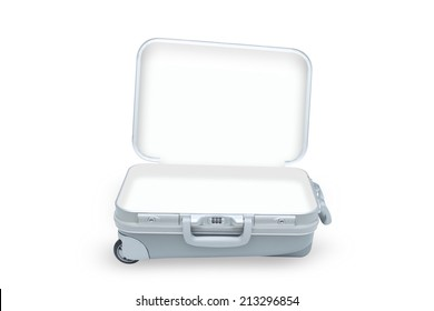open suitcase isolated on white background with clipping path