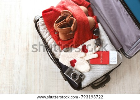 3bbb3f88efe Open Suitcase Warm Clothes Photo Camera Stock Photo (Edit Now ...