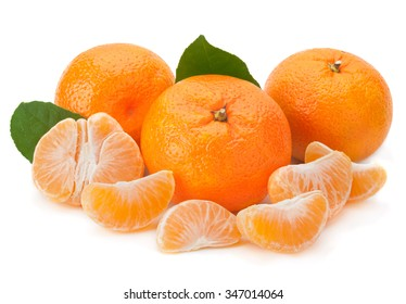 Open tangerine fruit isolated on white