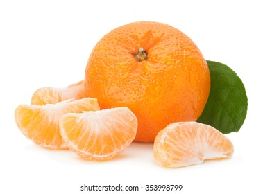 Open tangerine fruit isolated on white background