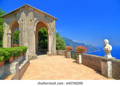 Open terrace above the sea and classical white statues in the sun, Ravello, Amalfi coast, Italy