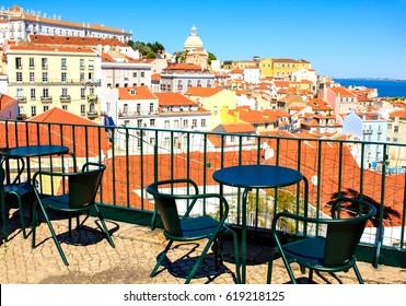 Open terrace cafe in Lisbon, Portugal.