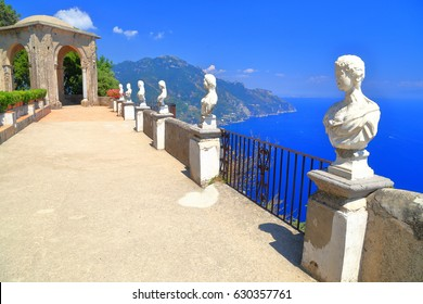 Open terrace and classical statues in the sun, Ravello, Amalfi coast, Italy