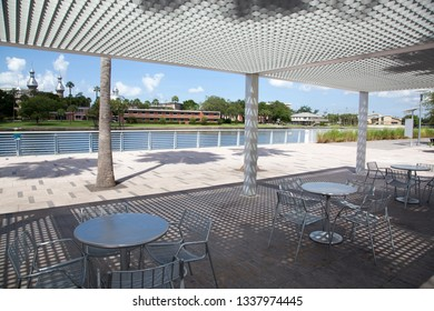 The open terrace with a view of Hillsborough River in Tampa's waterfront park (Florida).