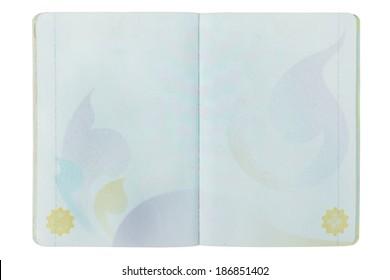open Thailand blank Passport page on white