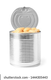 Open tin can of beans isolated on white