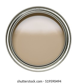 OPEN TIN CAN OF BIEGE PAINT WITH LID REMOVED