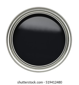 OPEN TIN CAN OF BLACK PAINT WITH LID REMOVED