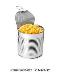 Open tin can of corn kernels isolated on white