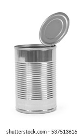 Open Tin Can Isolated on White Background.