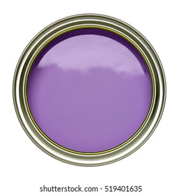 OPEN TIN CAN OF LILAC PURPLE PAINT WITH LID REMOVED