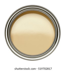OPEN TIN CAN OF YELLOW PAINT WITH LID REMOVED