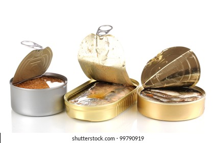 Open tin cans isolated on white
