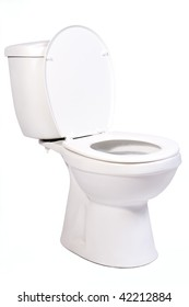 open toilet bowl isolated on white background. White toilet bowl with water tank. porcelain toilet bowl on a white background. Toilet bowl with open cover. New Clean toilet bowl made of porcelain.