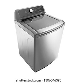 Open Top Load Washing Machine Isolated on White. Top Side View of Stainless Steel Fully Automatic Top Loading Washer with Integrated Control Panel. Household Domestic Appliances. Home Innovation