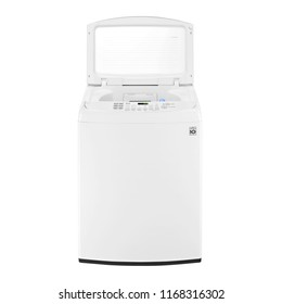 Open Top Loader Washing Machine Isolated on White Background. Front View of White Top Load Washer with Electronic Control Panel. Domestic and Household Appliances