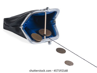 open trap purse with coins