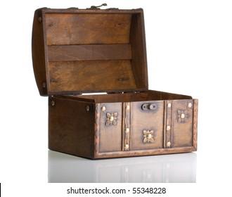 Open treasure box isolated on white
