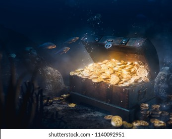 Open treasure chest sunken at the bottom of the sea / high contrast image