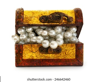 Open treasure chest with white pearl necklace