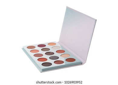 Open trendy eye shadow palette, isolated on white background