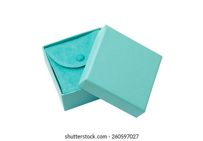 Open turquoise isolated gift box with white ribbon on white background