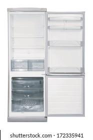 白い背景にドアINOX冷蔵庫を2つ開ける