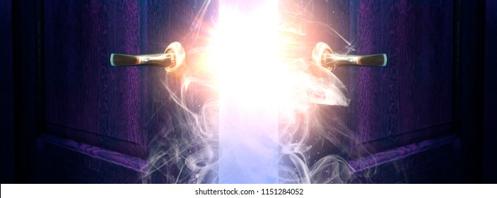 Open two doors behind which is visible flash of light, magic particles, rays, sorcery