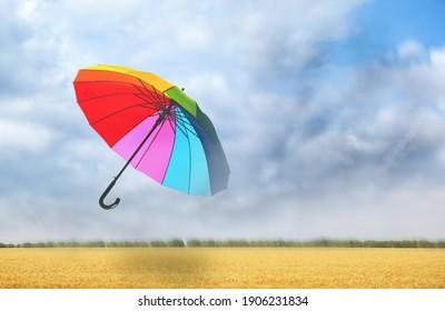 Open umbrella blown by wind gust outdoors