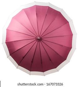 An open umbrella over white background