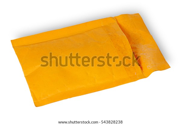 Open used yellow envelope isolated on white background