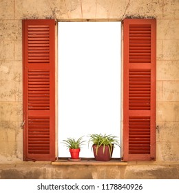 Open Villa Window With Red Shutters And Isolated Space For Text