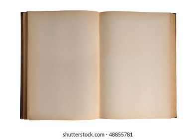 Open vintage book with blank pages isolated over white background