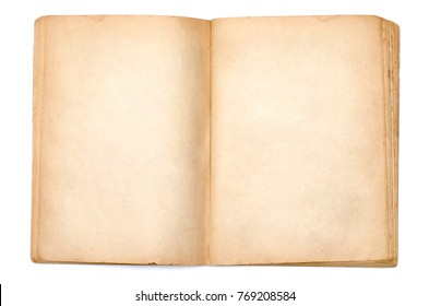 Open vintage book isolated on white