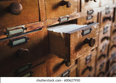 Open vintage file catalog box. Concept for database, archive, library