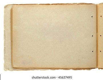 Open vintage notepad isolated on white
