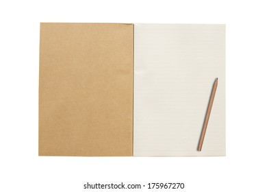 An open vintage sketchbook or notebook with pencil on paper. Isolated on white background.
