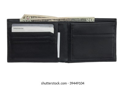 An open wallet with various cards and cash isolated on a pure white background