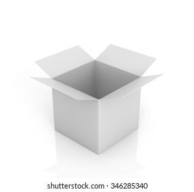 Open white box on a white background