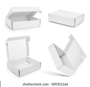 Open white box on an isolated white background