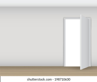 Open White Door on a White Wall  Illustration